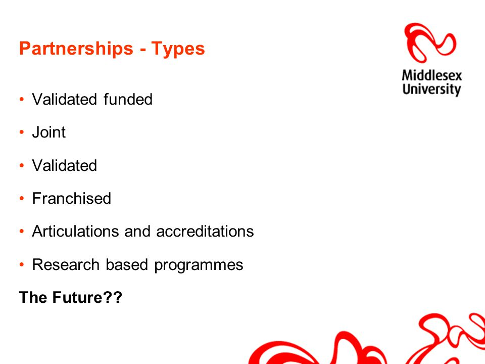 Partnerships - Types Validated funded Joint Validated Franchised Articulations and accreditations Research based programmes The Future