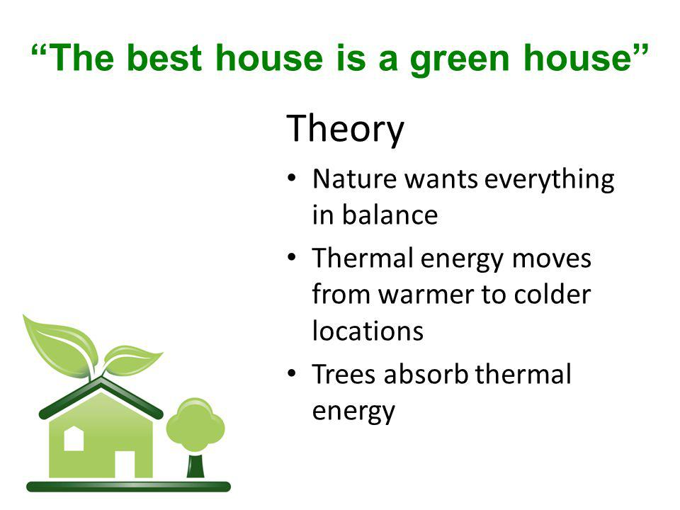 Theory Nature wants everything in balance Thermal energy moves from warmer to colder locations Trees absorb thermal energy The best house is a green house