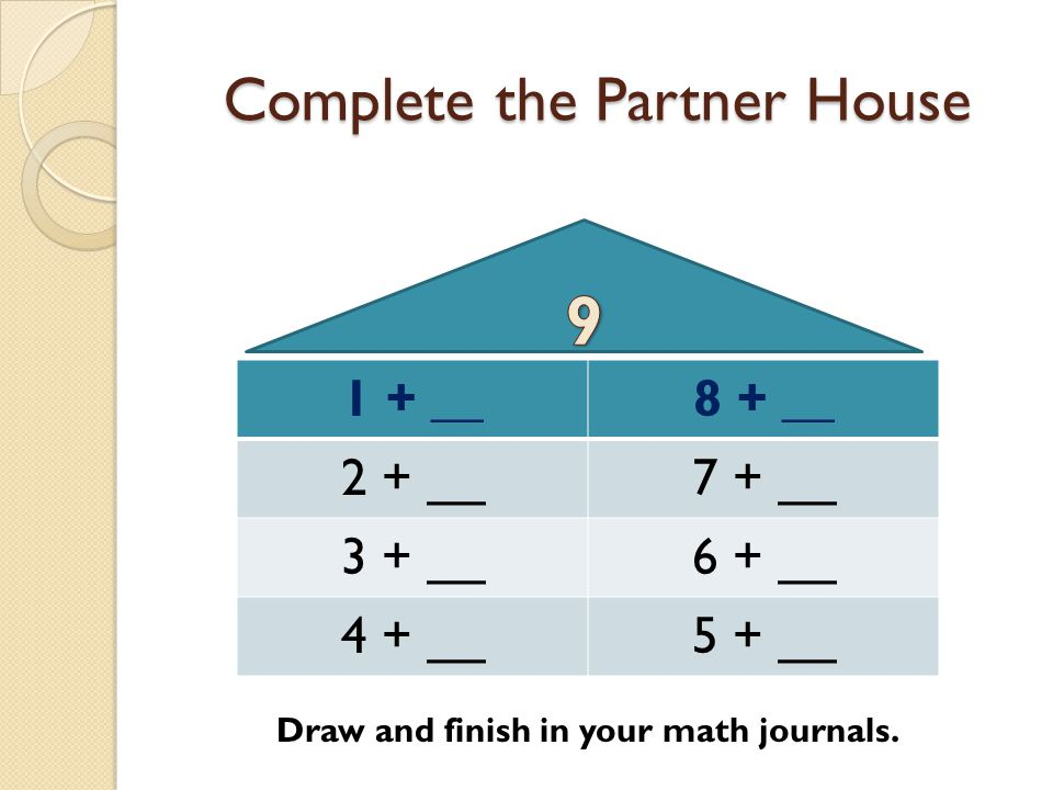 Complete the Partner House 1 + __8 + __ 2 + __7 + __ 3 + __6 + __ 4 + __5 + __ Draw and finish in your math journals.
