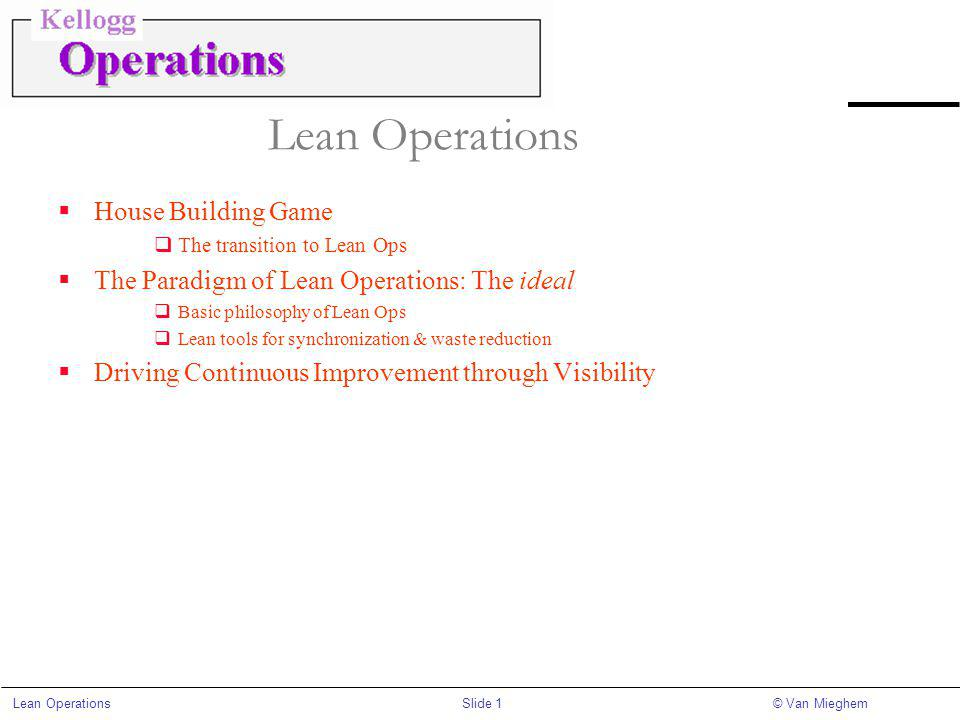 Slide 1Lean Operations© Van Mieghem Lean Operations House Building Game The transition to Lean Ops The Paradigm of Lean Operations: The ideal Basic philosophy of Lean Ops Lean tools for synchronization & waste reduction Driving Continuous Improvement through Visibility