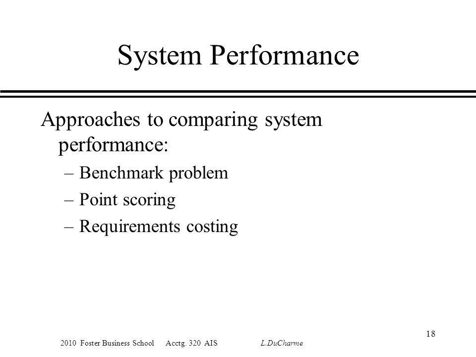 2010 Foster Business School Acctg. 320 AIS L.DuCharme System Performance Approaches to comparing system performance: –Benchmark problem –Point scoring
