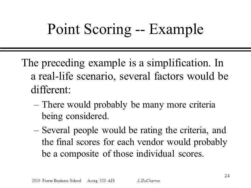 2010 Foster Business School Acctg. 320 AIS L.DuCharme Point Scoring -- Example The preceding example is a simplification. In a real-life scenario, sev