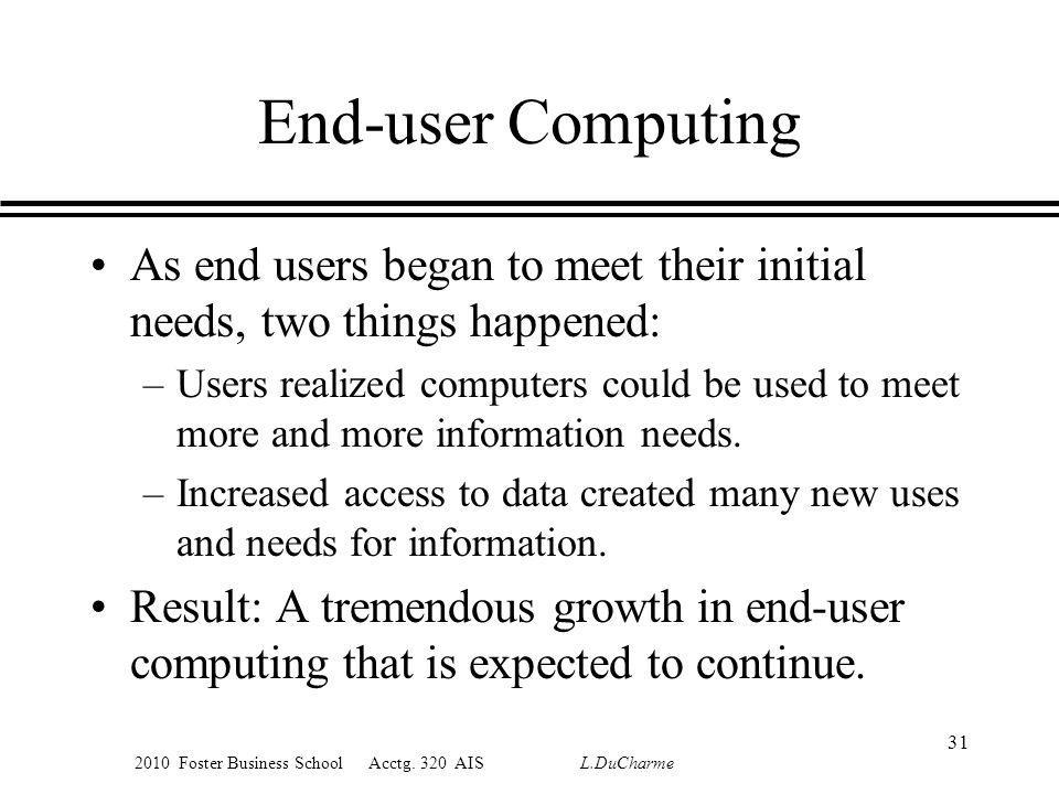 2010 Foster Business School Acctg. 320 AIS L.DuCharme End-user Computing As end users began to meet their initial needs, two things happened: –Users r
