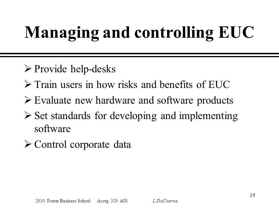 2010 Foster Business School Acctg. 320 AIS L.DuCharme Managing and controlling EUC Provide help-desks Train users in how risks and benefits of EUC Eva