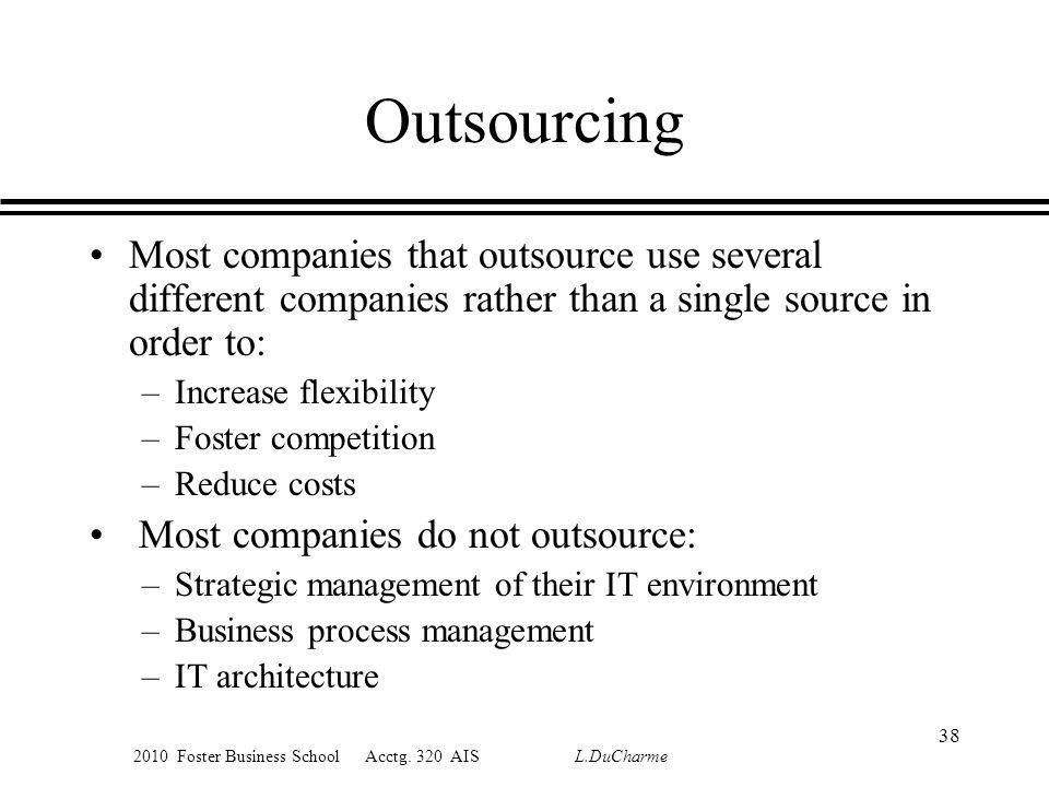 2010 Foster Business School Acctg. 320 AIS L.DuCharme Outsourcing Most companies that outsource use several different companies rather than a single s