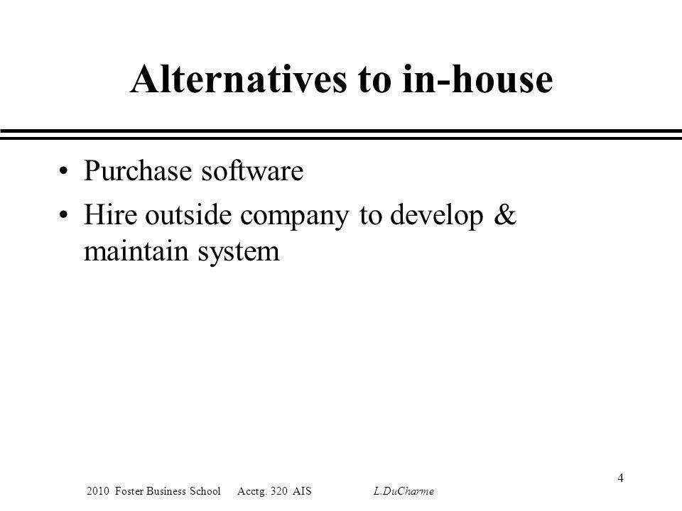 2010 Foster Business School Acctg. 320 AIS L.DuCharme Alternatives to in-house Purchase software Hire outside company to develop & maintain system 4
