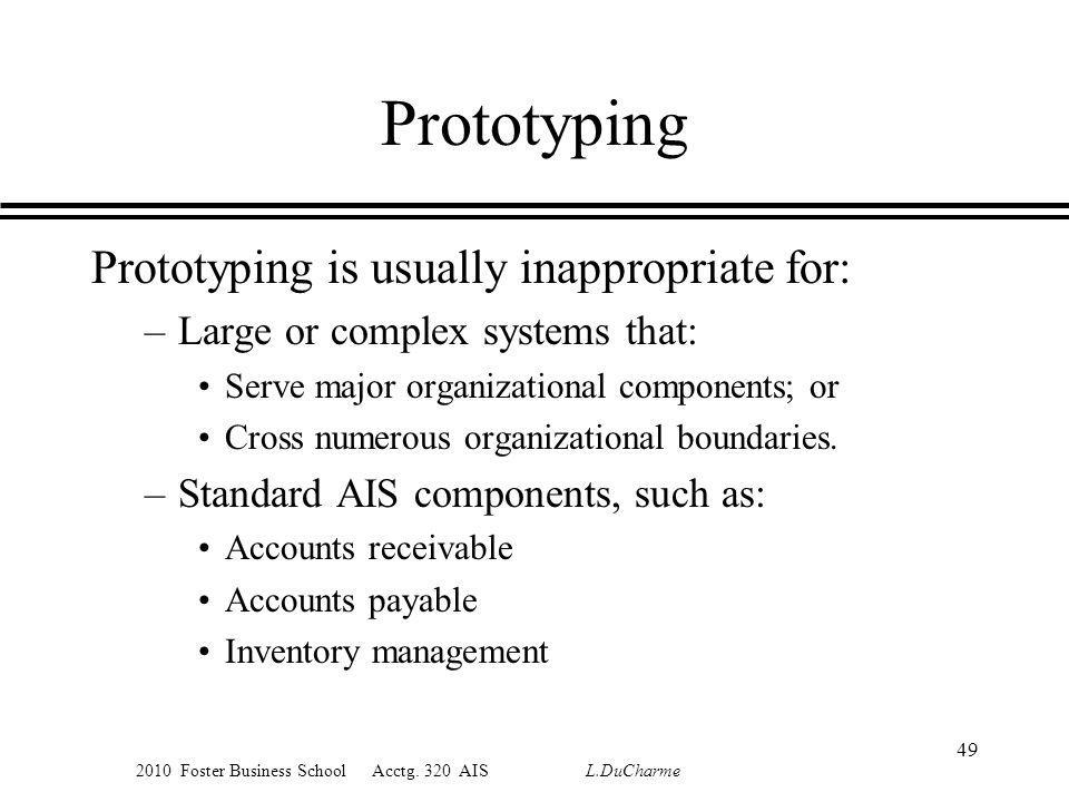 2010 Foster Business School Acctg. 320 AIS L.DuCharme Prototyping Prototyping is usually inappropriate for: –Large or complex systems that: Serve majo