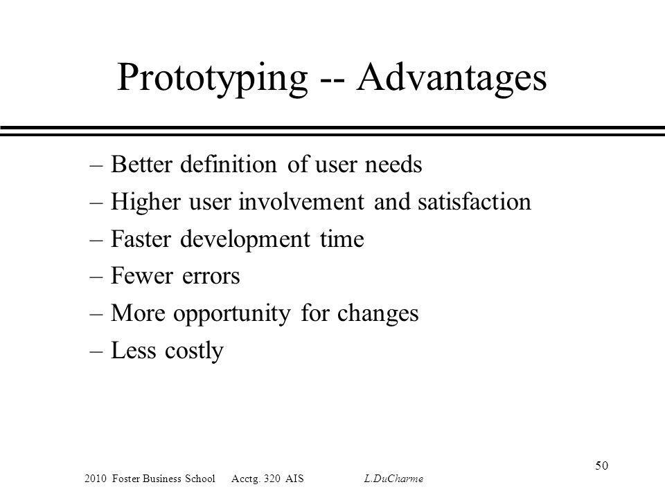 2010 Foster Business School Acctg. 320 AIS L.DuCharme Prototyping -- Advantages –Better definition of user needs –Higher user involvement and satisfac