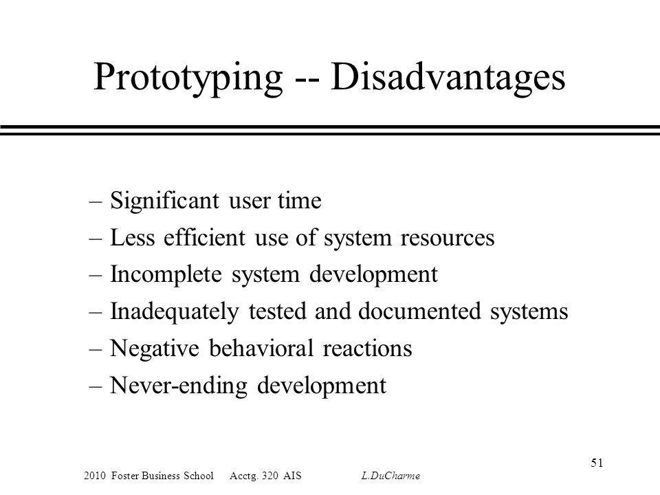 2010 Foster Business School Acctg. 320 AIS L.DuCharme Prototyping -- Disadvantages –Significant user time –Less efficient use of system resources –Inc