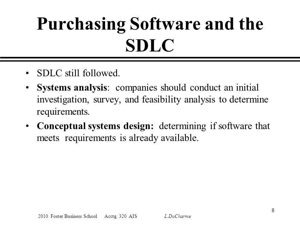 2010 Foster Business School Acctg. 320 AIS L.DuCharme Purchasing Software and the SDLC SDLC still followed. Systems analysis: companies should conduct
