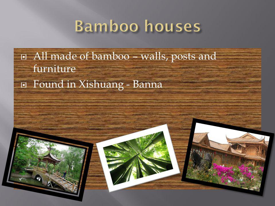 All made of bamboo – walls, posts and furniture Found in Xishuang - Banna