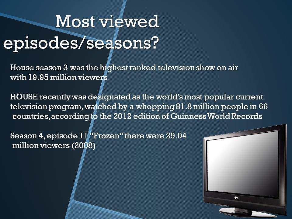 Most viewed episodes/seasons.
