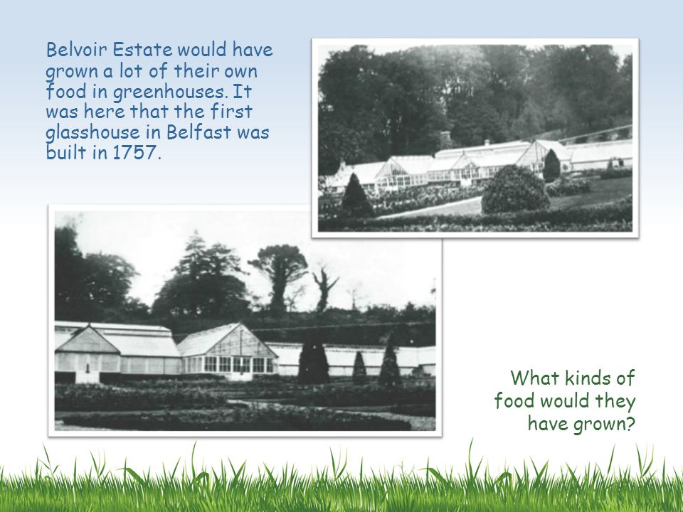 Belvoir Estate would have grown a lot of their own food in greenhouses.