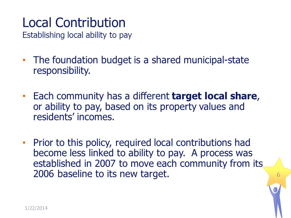 Local Contribution Establishing local ability to pay The foundation budget is a shared municipal-state responsibility. Each community has a different