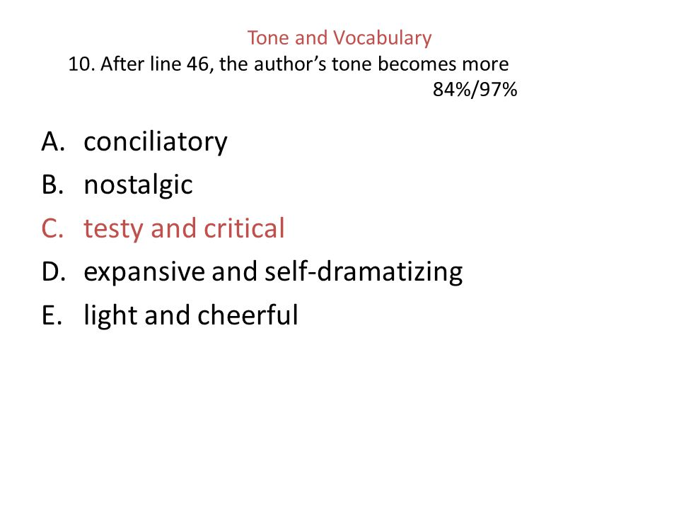 Tone and Vocabulary 10.