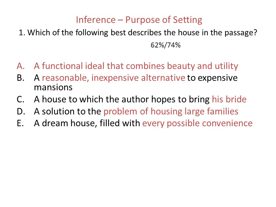 Inference – Purpose of Setting 1.Which of the following best describes the house in the passage.