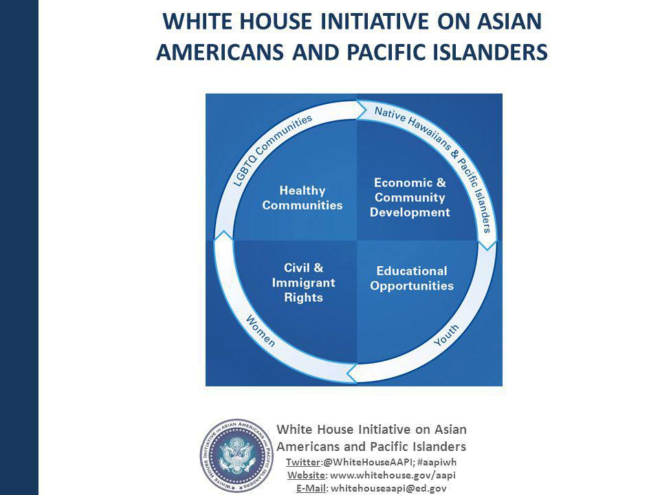 White House Initiative on Asian Americans and Pacific Islanders Twitter:@WhiteHouseAAPI; #aapiwh Website: www.whitehouse.gov/aapi E-Mail: whitehouseaapi@ed.gov How: Please submit your comments through the Federal eRulemaking Portal or via U.S.