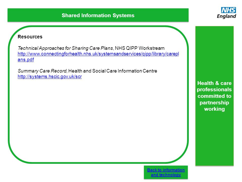 Shared Information Systems Resources Technical Approaches for Sharing Care Plans, NHS QIPP Workstream http://www.connectingforhealth.nhs.uk/systemsand