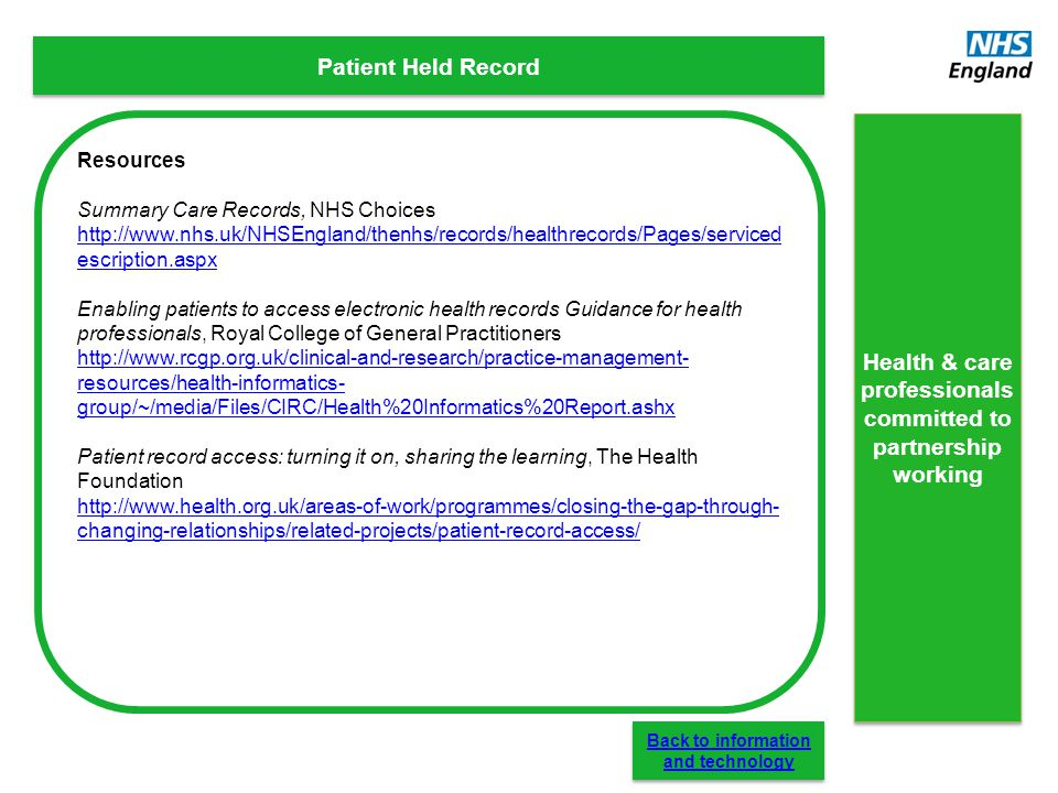 Patient Held Record Resources Summary Care Records, NHS Choices http://www.nhs.uk/NHSEngland/thenhs/records/healthrecords/Pages/serviced escription.as