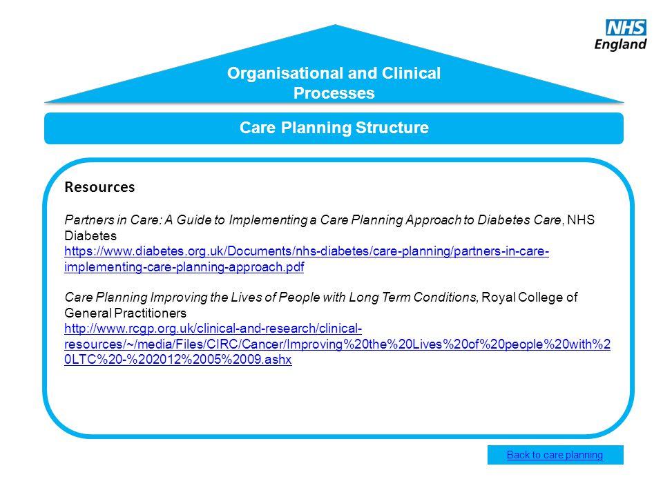 Care Planning Structure Resources Partners in Care: A Guide to Implementing a Care Planning Approach to Diabetes Care, NHS Diabetes https://www.diabet