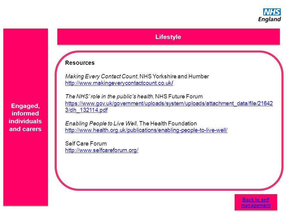 Engaged, informed individuals and carers Lifestyle Resources Making Every Contact Count, NHS Yorkshire and Humber http://www.makingeverycontactcount.c