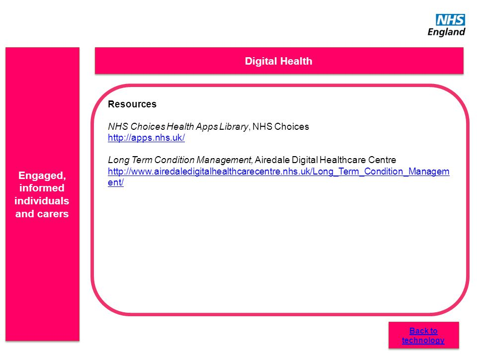 Engaged, informed individuals and carers Digital Health Resources NHS Choices Health Apps Library, NHS Choices http://apps.nhs.uk/ Long Term Condition