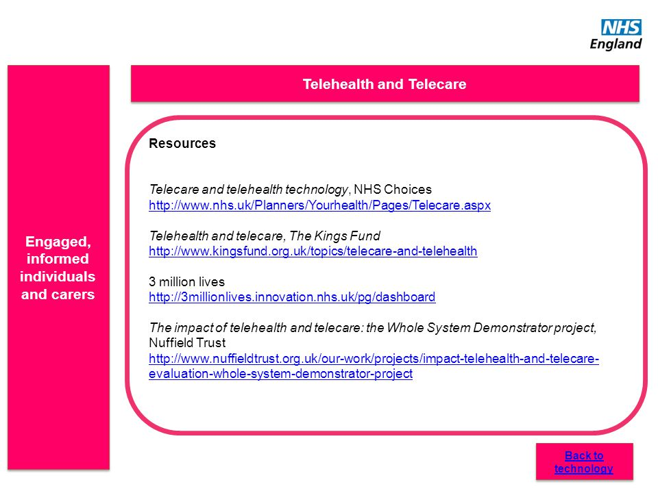 Engaged, informed individuals and carers Telehealth and Telecare Resources Telecare and telehealth technology, NHS Choices http://www.nhs.uk/Planners/