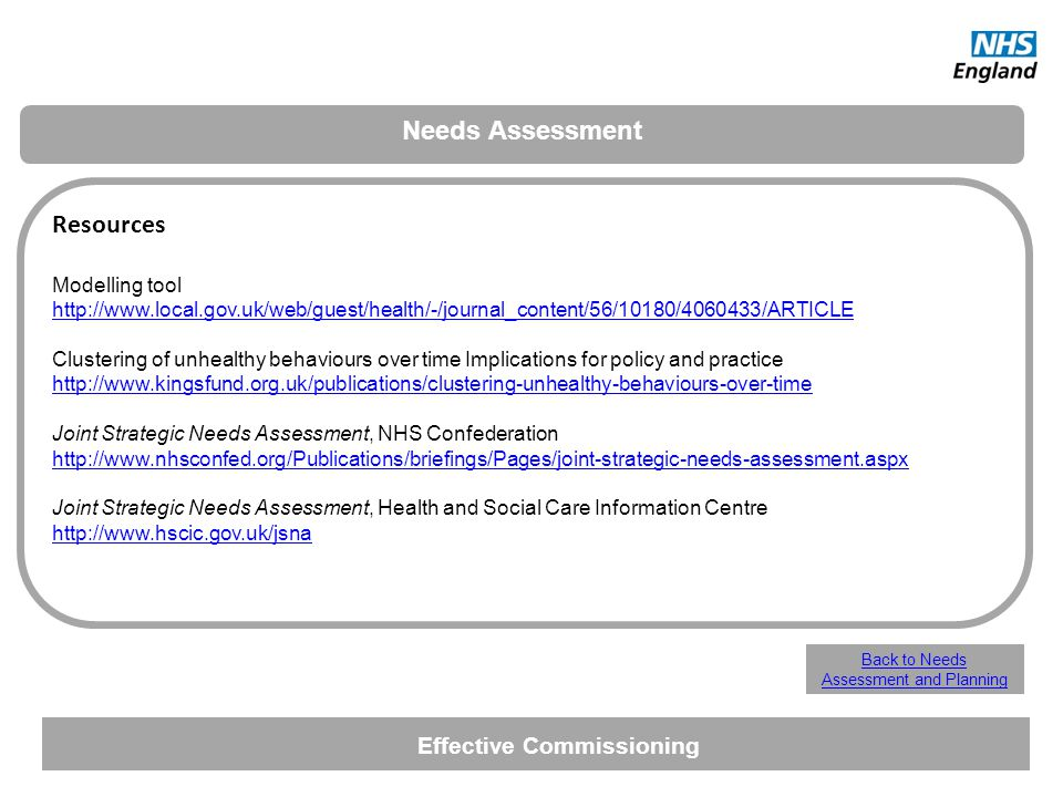 Needs Assessment Resources Modelling tool http://www.local.gov.uk/web/guest/health/-/journal_content/56/10180/4060433/ARTICLE Clustering of unhealthy