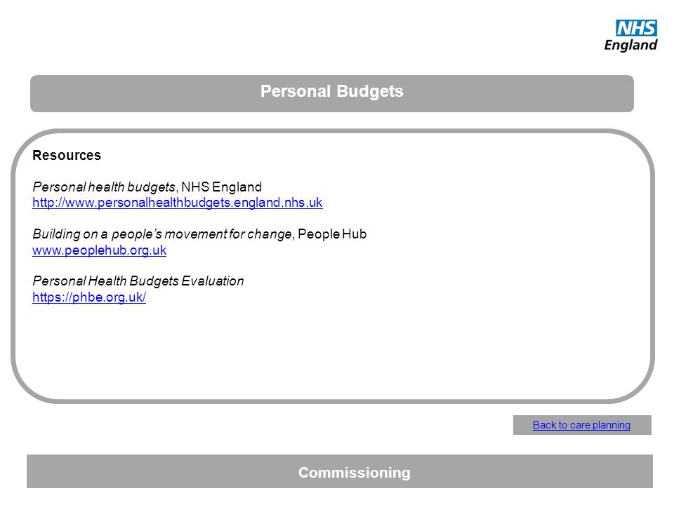 Resources Personal health budgets, NHS England http://www.personalhealthbudgets.england.nhs.uk Building on a peoples movement for change, People Hub w