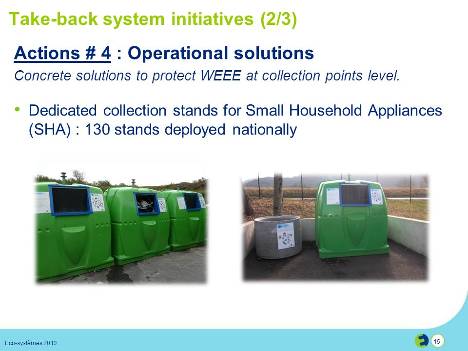 15 Take-back system initiatives (2/3) Dedicated collection stands for Small Household Appliances (SHA) : 130 stands deployed nationally Eco-systèmes 2