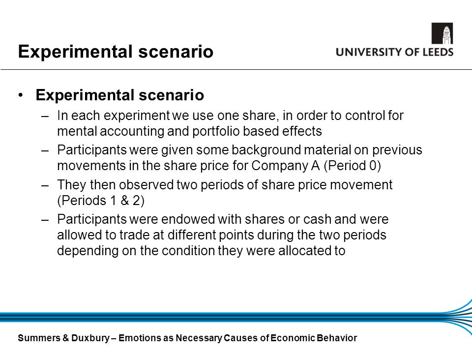 Summers & Duxbury – Emotions as Necessary Causes of Economic Behavior Experimental scenario –In each experiment we use one share, in order to control