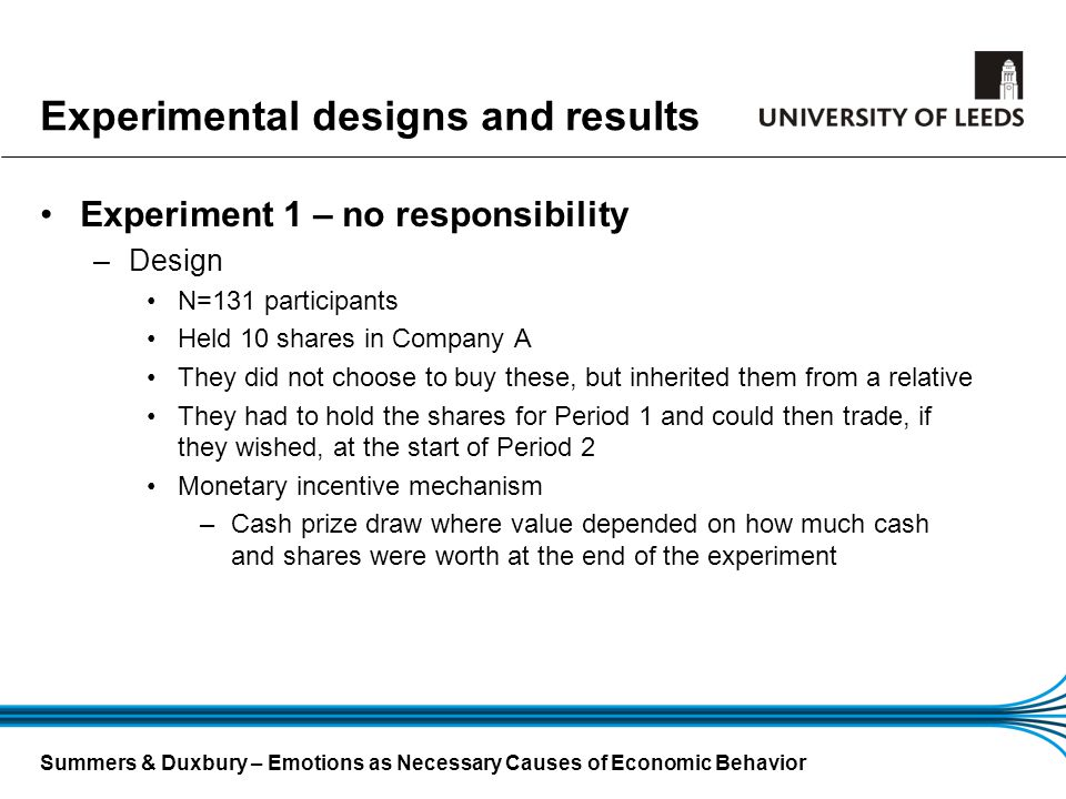 Summers & Duxbury – Emotions as Necessary Causes of Economic Behavior Experimental designs and results Experiment 1 – no responsibility –Design N=131