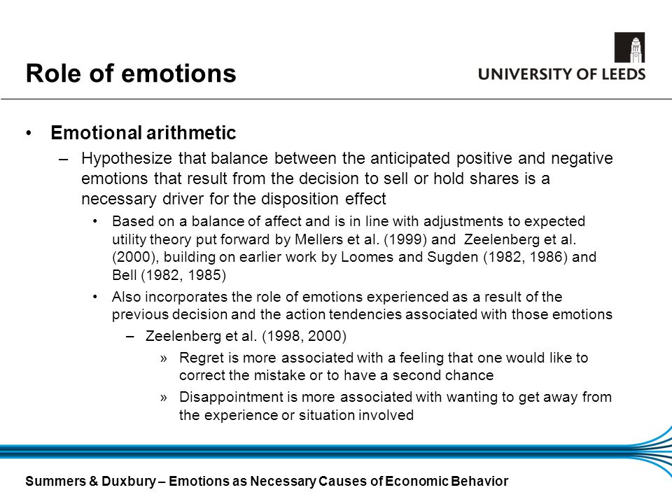Summers & Duxbury – Emotions as Necessary Causes of Economic Behavior Role of emotions Emotional arithmetic –Hypothesize that balance between the anti