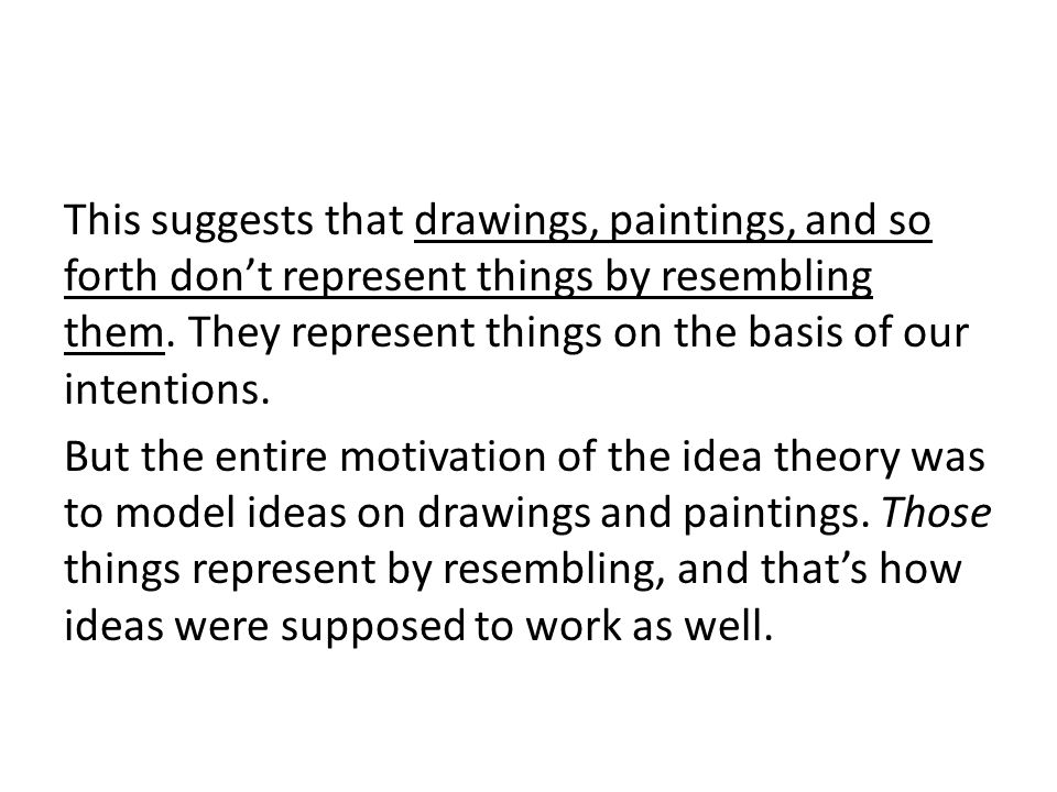 This suggests that drawings, paintings, and so forth dont represent things by resembling them. They represent things on the basis of our intentions. B