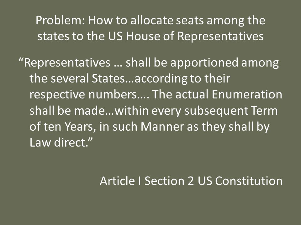 Problem: How to allocate seats among the states to the US House of Representatives Representatives … shall be apportioned among the several States…acc