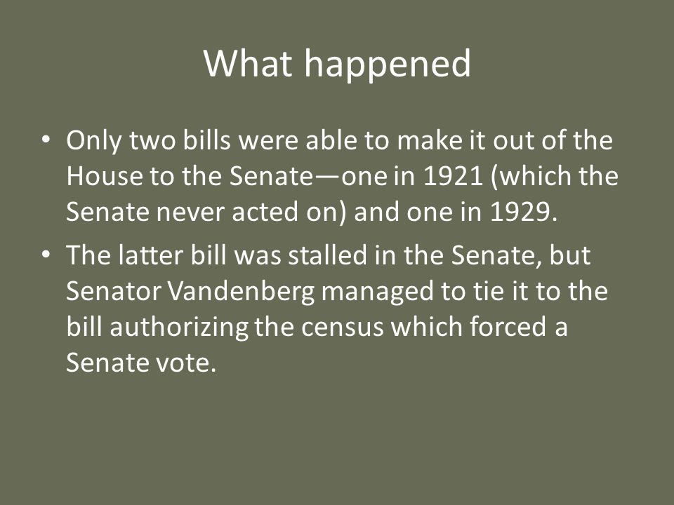 What happened Only two bills were able to make it out of the House to the Senateone in 1921 (which the Senate never acted on) and one in 1929. The lat