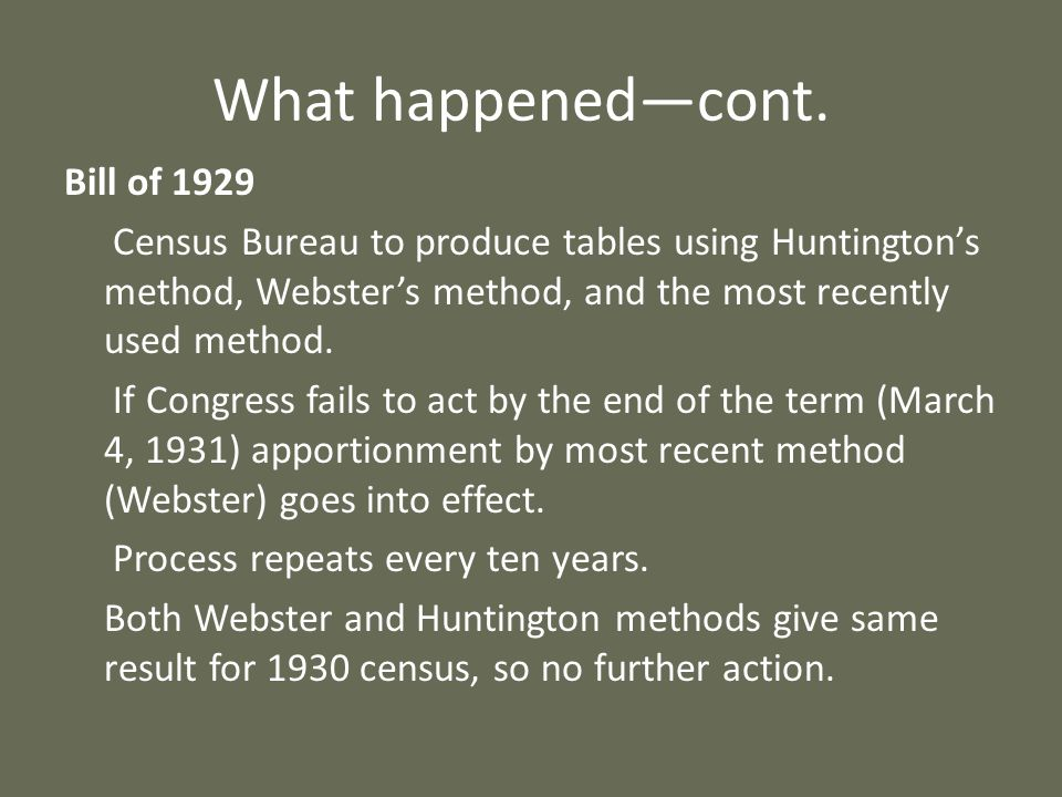 What happenedcont. Bill of 1929 Census Bureau to produce tables using Huntingtons method, Websters method, and the most recently used method. If Congr