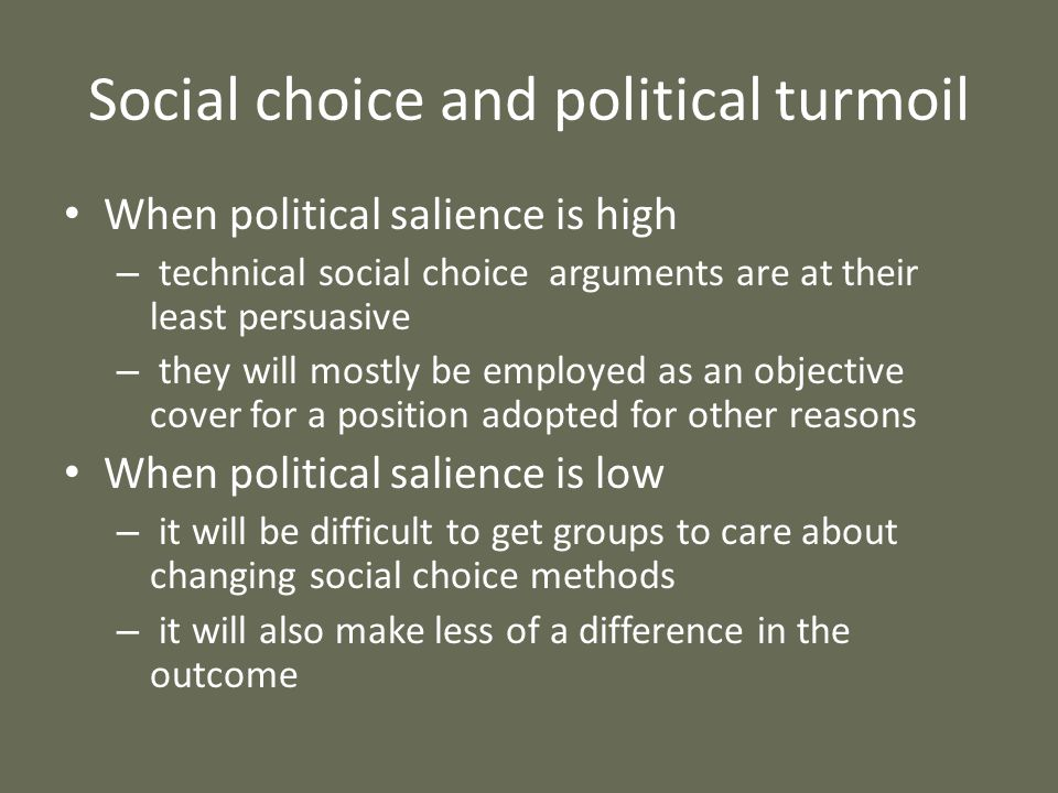 Social choice and political turmoil When political salience is high – technical social choice arguments are at their least persuasive – they will most