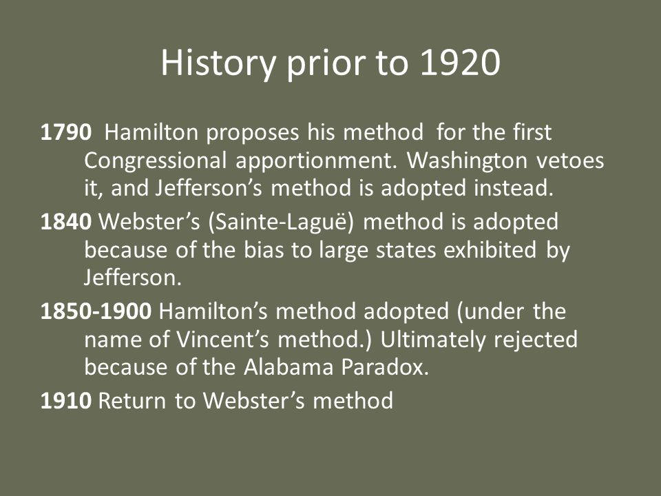 History prior to 1920 1790 Hamilton proposes his method for the first Congressional apportionment. Washington vetoes it, and Jeffersons method is adop