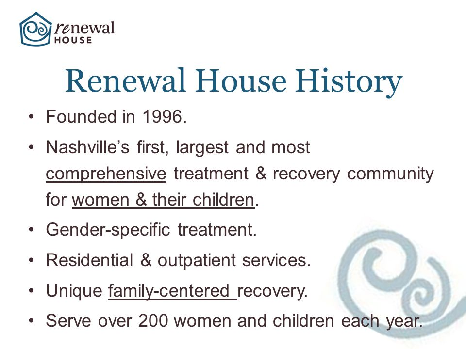 Renewal House History Founded in 1996.