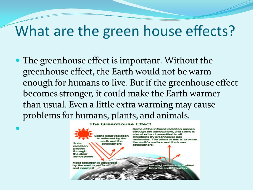 What are the green house effects? The greenhouse effect is important. Without the greenhouse effect, the Earth would not be warm enough for humans to