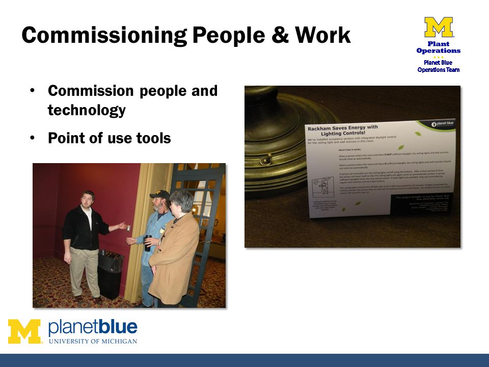 Commissioning People & Work Commission people and technology Point of use tools