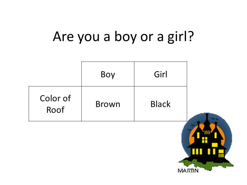 Are you a boy or a girl BoyGirl Color of Roof BrownBlack