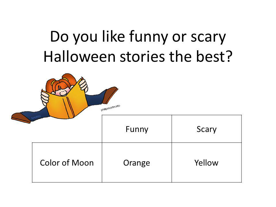 Do you like funny or scary Halloween stories the best FunnyScary Color of MoonOrangeYellow