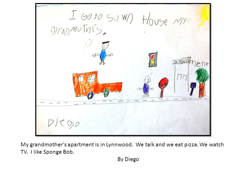 My grandmothers apartment is in Lynnwood. We talk and we eat pizza. We watch TV. I like Sponge Bob. By Diego