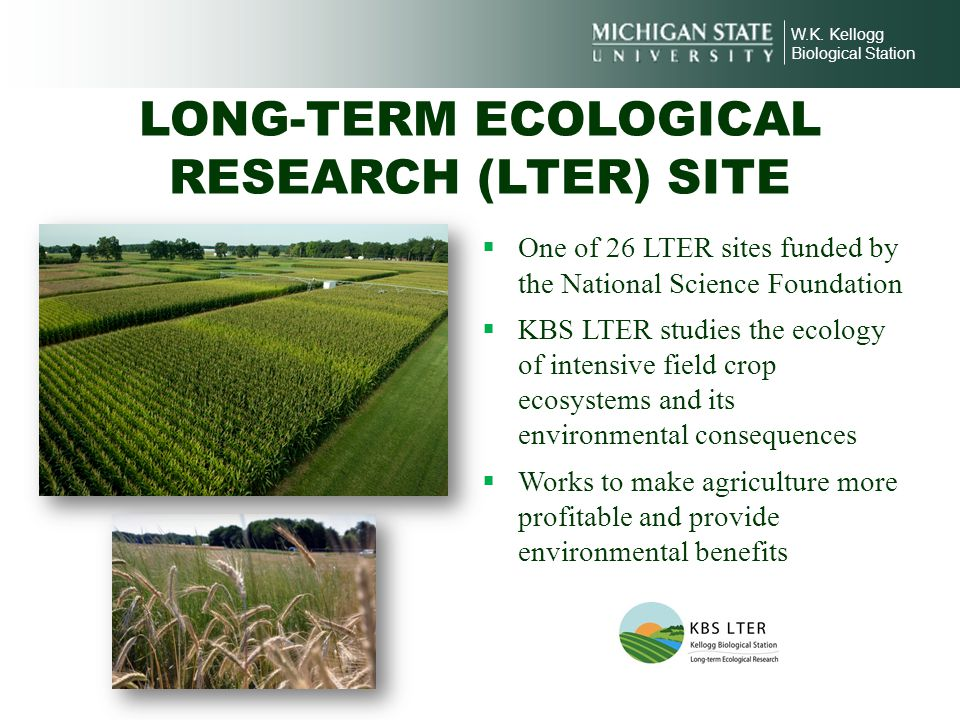 W.K. Kellogg Biological Station LONG-TERM ECOLOGICAL RESEARCH (LTER) SITE One of 26 LTER sites funded by the National Science Foundation KBS LTER stud