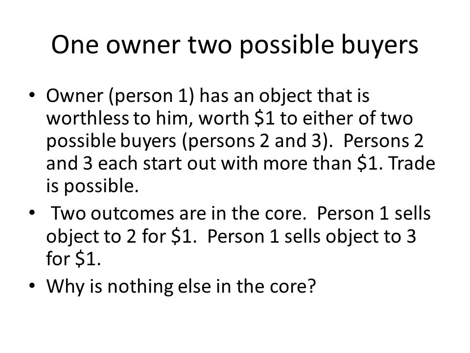 Previous example except that Person 2 values object at 1.