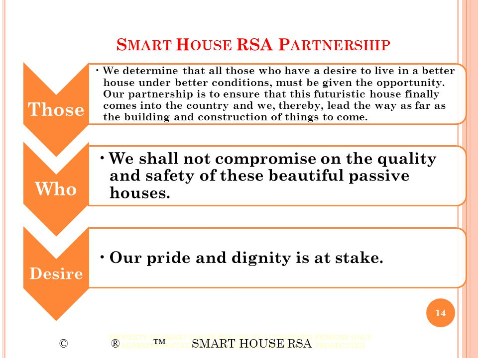 S MART H OUSE RSA P ARTNERSHIP Those We determine that all those who have a desire to live in a better house under better conditions, must be given th