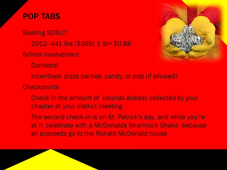 POP TABS Beating SDSU? 2012- 441 lbs ($388) 1 lb= $0.88 School Involvement Contests! Incentives- pizza parties, candy, or pop (if allowed) Checkpoints
