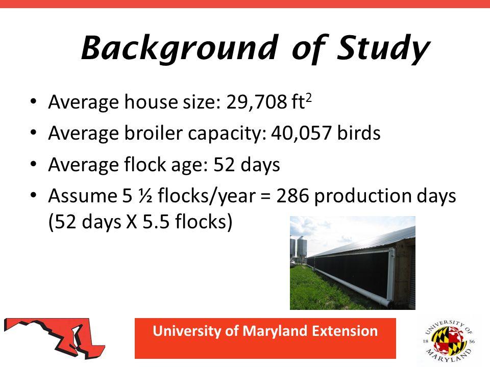 University of Maryland Extension Background of Study Average house size: 29,708 ft 2 Average broiler capacity: 40,057 birds Average flock age: 52 days Assume 5 ½ flocks/year = 286 production days (52 days X 5.5 flocks)